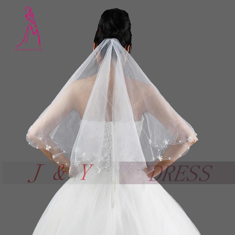 JampY 2016 New Bridal Veil Short Wedding Veil Appliques One Layer Veil For Bride Fashion Cheap